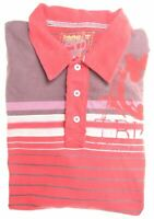 TIMBERLAND Boys Polo Shirt Long Sleeve 15-16 Years Red Striped Cotton  DX06