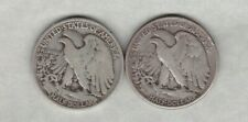 More details for two usa 1934 & 1941 silver half dollars in a used fine condition