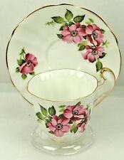 Royal Adderley Pink Floral Scalloped Fine Bone China Teacup & Saucer England
