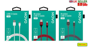 MOVO 100% Genuine Braided USB-C Type Cable 1.5M Fast Charge - UK SELLER