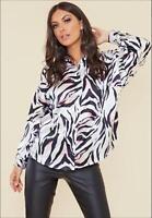 Satin Abstract Animal Print Oversized Shirt (RRP £39.99)
