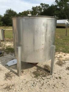 """500 GALLON 316 STAINLESS STEEL TANK W PNEUMATIC MIXER HINGED LID CONE BOTTOM 6"""""""