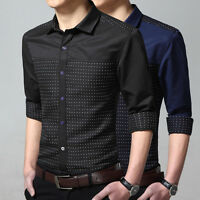 New Men's Dress Shirts Fashion Casual Stylish Slim Fit Long Sleeves 2 Colors
