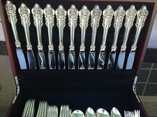 COMPLETE 84 PC OLD HEAVY SET WALLACE GRANDE BAROQUE STERLING FLATWARE GREAT NICE