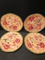 4 LONGABERGER PLATES FLORAL AND LEAVES RAISED  9 1/4''