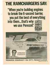 1971 DODGE CHALLENGER - LEROY GOLDSTEIN RAMCHARGERS  ~  ORIGINAL PENNZOIL AD