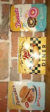 Lot 3 plaques métal 15 x 20 cm vintage Pancakes Donuts NEUVES