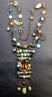 ANAT Stone Necklace Copper Turquoise Rhinestones Pearl Statement Piece Bib Style