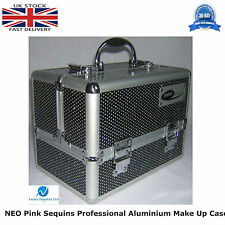 NEO BLACK Sequins Professional Aluminium Beauty Cosmetic Box Make Up Case STRONG