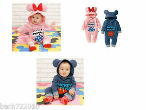 New Baby Boys Girls Cartoon Characters Costume Fleece Outfit One piece