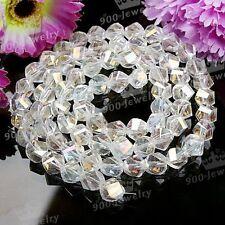 72 St. AB Klar Glas Kristall Perle verbogen Beads 8 MM f. Halskette Armkette