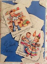 Vintage 1940s UNUSED Get Well Card Baker, Grocer Cobbler, Butcher, Messenger Boy