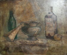 1998 Still Life with bottles and pot oil painting signed