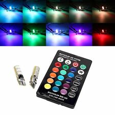 2Pcs T10 RG Color Changing LED Car Lamp Side Bulb Strobe Remote Control w5w 2825