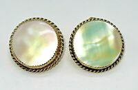 Easter Gift Gumdroip Earrings Gold Plated Gold Earrings Davis Whiting Mother of Pearl Gold Clip On Earrings Vintage Jewelry