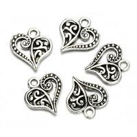 30X Fashion Antique Bronze Silver Alloy Hollow Heart DIY Charms Pendants Crafts