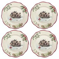 Better Homes Gardens Heritage 4 Set Salad Plates Holly Bear Cub Christmas Dinner