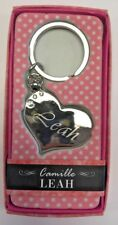LEAH Camille heart silver color personalized KEYCHAIN BRAND NEW IN PACKAGE