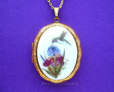Porcelain HUMMINGBIRD & IRIS CAMEO GT Locket Pendant Necklace for Birthday Gift