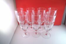 Lovely Set of 7 Etched Flower Clear Glass Crystal Parfait Juice Tumbler Glasses