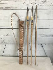 Vintage Childs Wooden Bow and Arrow Set Handmade Antique 2 Arrows