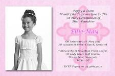 50 Personalised Girls Pink First , 1st Holy Communion Invitations / Invite C11P