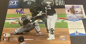 Luis Robert White Sox Signed 8x10 Photo Beckett WITNESS COA 1st Hit Imperfect ,