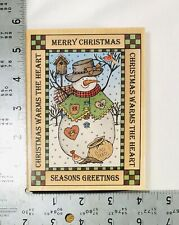 """1996 Hero Arts Christmas Snowman Large Wood Mounted Rubber Stamp 5.25"""" x 4"""" x 1"""""""
