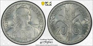 1945 French Indo China 20 Centimes Essai PCGS SP63 Lot#G547 Scarce!