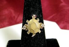 RARE 14K YELLOW GOLD GB ENAMEL RUBY EYES MOVABLE TURTLE HEAD TAIL RING SIZE 7.75