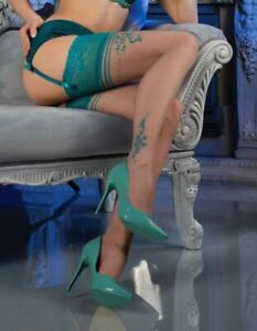 Ballerina 476 Hold Ups European Hosiery Luxury Sheer Green Lace Top