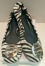 Tory Burch Minnie Travel Ballet Flats Zebra Logo Size 7 1/2 Med