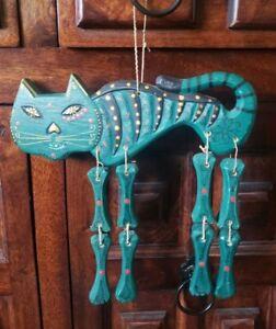 Sugar Skull Cat Wooden Windchime Sign Garden Wall Fence Hanger