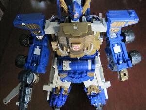 Transformers Armada Super Class Optimus Prime W/ Minicon Trailer Gold Complete