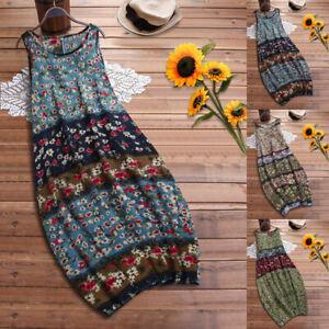 Plus Size Womens Sleeveless Casual Maxi Dress Summer Boho Floral Print Sundress