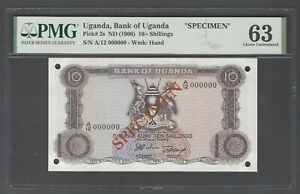 Uganda 10 Shillings ND(1966) Specimen P2s Uncirculated Grade 63