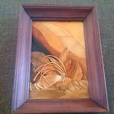 Leather Wall Art Handmade Picture Desert Mountain Cactus Framed Brown Tan