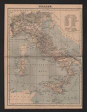 Landkarte map 1885: ITALIEN. Sizilien Sardinien Ligurien