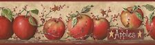 Wallpaper Borders Pre-pasted DESIGNER CB5558BD Red Apples Plaque Apple Garland