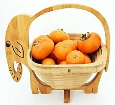 Natural Bamboo Elephant Collapsible Fruit & Vegetable Basket Bowl Foldable Wood