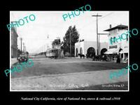 OLD LARGE HISTORIC PHOTO OF NATIONAL CITY CALIFORNIA, VIEW OF NATIONAL Ave c1910