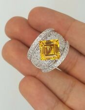 18K WHITE GOLD DIAMOND & YELLOW CITRINE GEMSTONE COCKTAIL CLUSTER LARGE RING