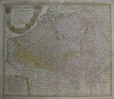 Original 1747 Homann Maier Map BELGIUM LUXEMBOURG Coats of Arms Holland France