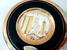 CHOKIN 24KT GOLD EDGE PLATE OF NEW YORK CITY WITH TWIN TOWERS VINTAGE LIBERTY