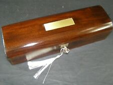 Antique Domed Pen & Pencil Box Lock & Key c1870  Rosewood With Brass Center