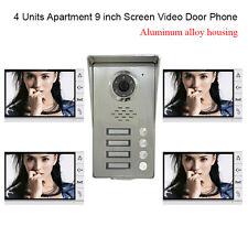 """4 Units Apartment intercom 9"""" Video Door Phone doorbell Aluminium Alloy Camera"""
