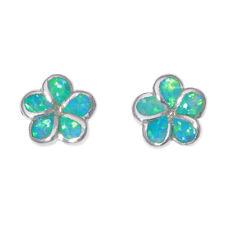Flower Shape Green Fire Opal Silver for Women Jewelry Gems Stud Earrings OH4522