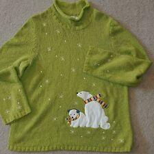 LADY'S LARGE GRINCH GREEN CHRISTOPHER & BANKS POLAR BEARS CHRISTMAS SWEATER