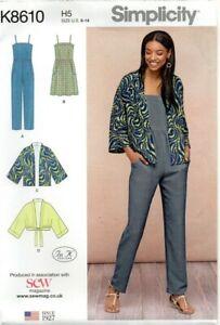 Simplicity Sewing Pattern 8610 Jumpsuit, Kimono and Dress, Size 6 - 14  New