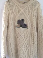 Womens Sweater Cable Knit Sheep Print Concept Knitwear Size Med